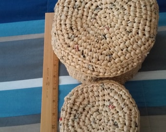 crocheted baskets with covers