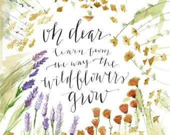 Wildflowers Grow, Matthew 6, Print