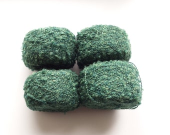 Green yarn, boucle yarn, wool yarn, knitting yarn, crochet yarn, yarn lot, cheap yarn, light yarn, DK yarn, light worsted yarn, textured yar
