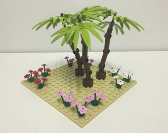 LEGO Garden with flowers and trees on 16 x 16 building plate