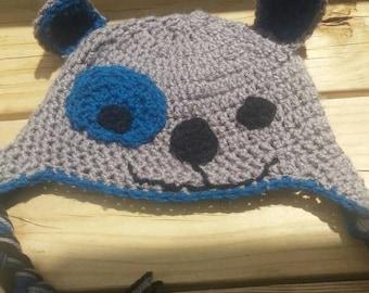 Crochet puppy patch eye hat