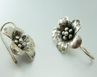 Karen Hill Tribe Silver Flower Earrings