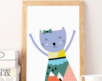 SALE Cat print, Cat wall art 1, Cute cat art, Nursery wall art, Funny kids print, Baby room art, Kitten print, Kitten wall art, nursery cat