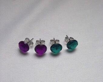 Gem Stud Earrings 8mm Nickel-Free