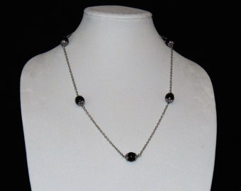 Black Pearl Necklace, Glass Pearl Necklace, Long Black Glass Pearl Necklace, Chain and Pearl Necklace