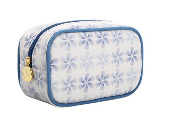 TaylorHe Make-up Bag Cosmetic Case Toiletry Bag Zipped Top Blue Opaque Petals.