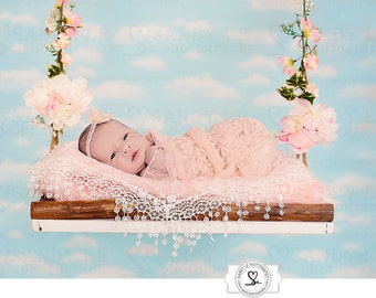 Newborn Digital Backdrop - Flowers Hanging Swing with White Clouds and Blue Sky Wallpaper Background Composite