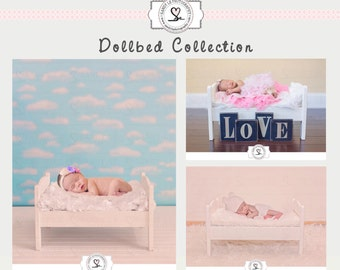 Newborn White Dollbed Collection Digital Backdrop
