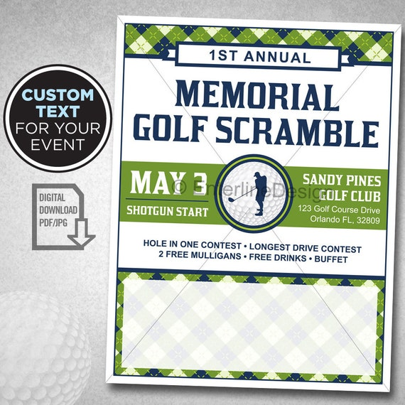 Golf tournament flyer poster template invitation custom for Golf tournament budget template