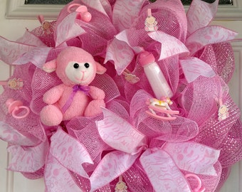 Baby Girl Pink Deco Poly Mesh Wreath