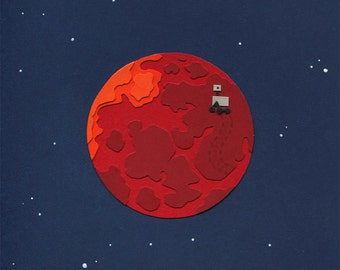 Paper Planets: Mars Cut Paper Illustration