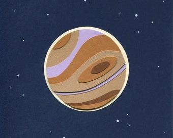 Paper Planets: Jupiter Cut Paper Illustration