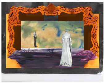 Lovers at stage illustration magnet