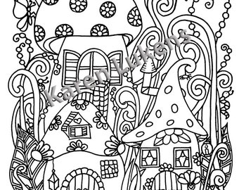 Happyville Mushies, 1 Adult Coloring Book Page, Printable Instant Download