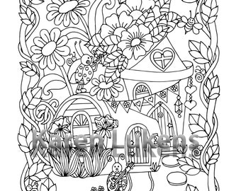 Ladybug Houses, 1 Adult Coloring Book Page, Printable Instant Download