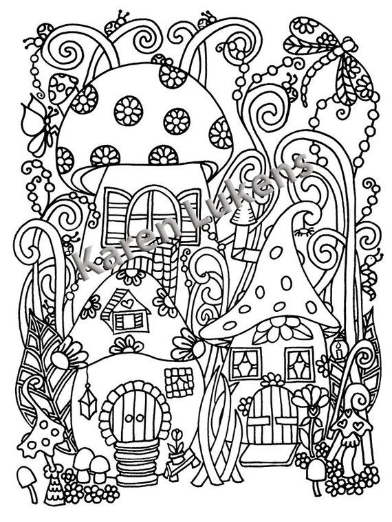 psychedelic mushroom coloring pages | Happyville Mushies 1 Adult Coloring Book Page Printable