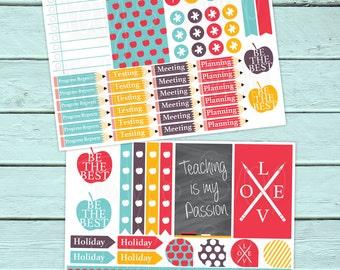 Teacher Planner Stickers, Happy Planner, Erin Condren, School, Maestra, Escuela