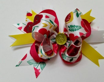 Med Combination Bow w/ Yellow and Pink Accents