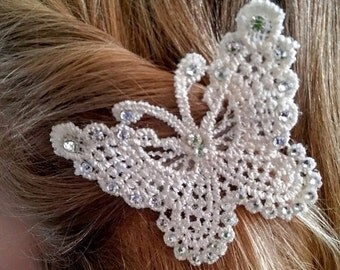 Ivory Bridesmaid hair accessories ,head piece. Butterfly hair clip. Flower girl accessories, Swarovski crystals, First Commuinon, Hair piece