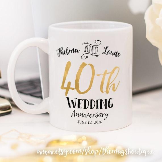 Customized Wedding Mugs : 40th Wedding Anniversary mug, customized wedding mug