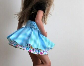 twirling skirts for kids, girl twirl skirt, kids clothing, organic cotton skirts, circle skirts for girls, full circle skirts, blue skirts