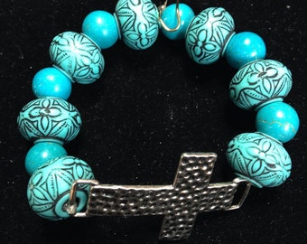 Turquoise Silver Cross