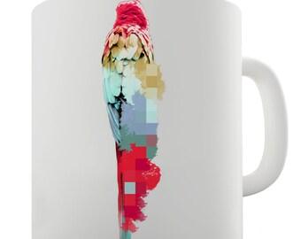 Watercolour Pixel McCaw Parrot Ceramic Mug