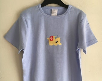 Vintage 1970s cute felt applique animals; 7-8 years blue t-shirt with yellow elephant applique