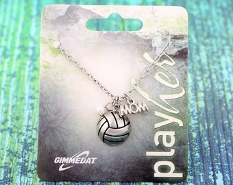 Customizable Silver Volleyball Mom Necklace - Personalize with Volleyball Number, Heart Charm, or Letter Charm! Great Volleyball Gift!