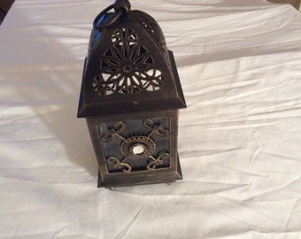 Shabby Chic Glass Tealight Bronze Vintage Hanging Lantern