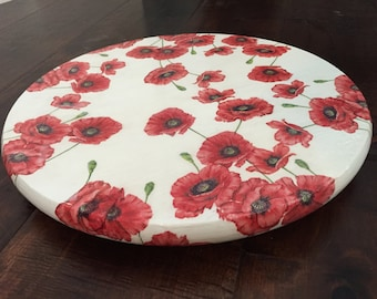 "15"" Lazy Susan with decoupaged red poppies"