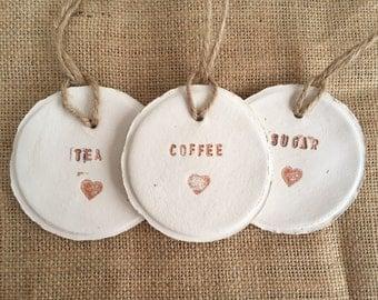 Tea, coffee, sugar clay tags, coffee pot tag, jar tags, clay labels