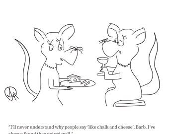 Cartoon Print 'Chalk and Cheese' by Sarah Hunt