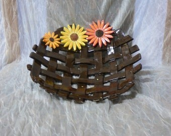 Handmade and painted pottery fruit bowl
