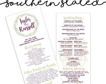 Custom Wedding Program Design