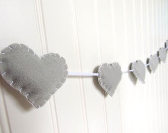 Heart banner / garland / bunting - light gray - Nursery decoration