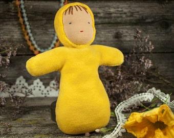 Waldorf toy, steiner doll,  play doll,  handmade doll,  waldorf cuddle doll, baby first doll, pocket doll, waldorf inspired, yellow doll.
