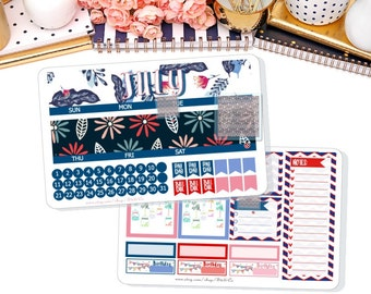 JULY 2017 Monthly View Kit Stickers for ECLP, Calendar Month, Monthly Kit, Month View Stickers,Fits ECLP Vertical 2017
