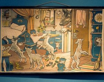 Der Wolf und die sieben Geislein. Vintage school poster by Ebi.