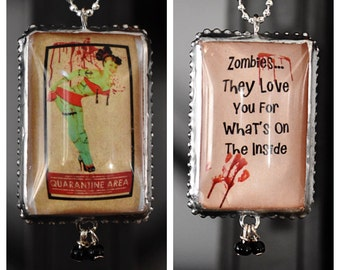 Charm/Zombie/Pin Up/Funny/Halloween/Blood/Two Sides/Unique/Burlesque/Soldered/Necklace/Ball Chain/Gift/Perfect Gift/Soldered Charm