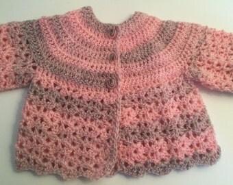 Crochet handmade Pink/Grey Baby Matinee Jacket