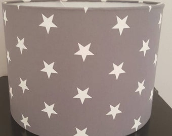 Grey and white star 20cm drum shade for ceilings or table lamps