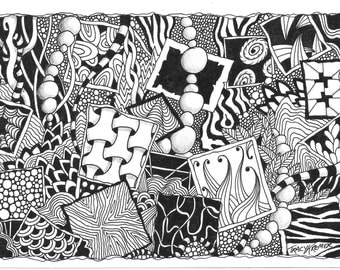"Zentangle inspired ""Frames"" illustration"