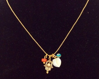 Military gold filled chain with charms