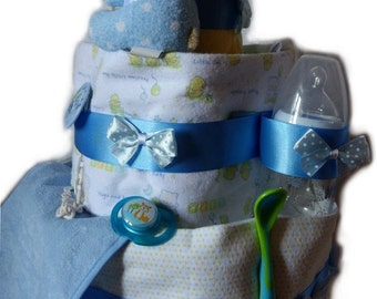 Baby boy 3-tier diaper cake for baby shower