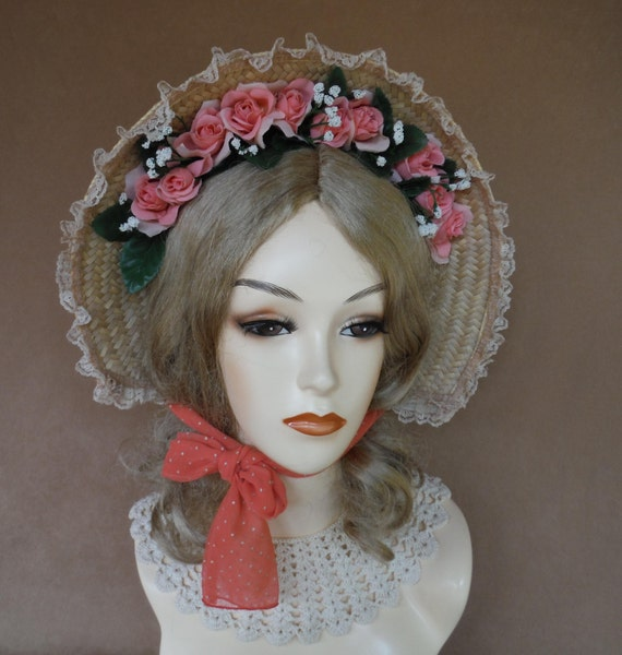Victorian Style Hats, Bonnets, Caps, Patterns Straw Bonnet /Peach  Roses Lace Trim and Chiffon Ties.Victorian Ladies Bonnet Pretty Victorian Costume HatFancy Ladies Straw Bonnet $35.00 AT vintagedancer.com