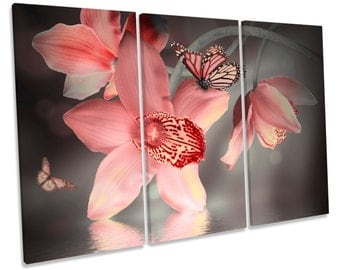 Orchids Floral Flower Butterfly Treble CANVAS WALL ART Box Framed Print