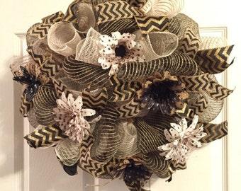 Black and Khaki Deco Mesh Wreath