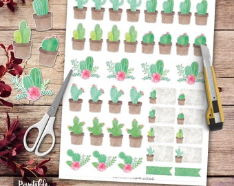 Watercolor Cactus Printable Planner Stickers, Cactus Planner, Cactus Printable Stickers