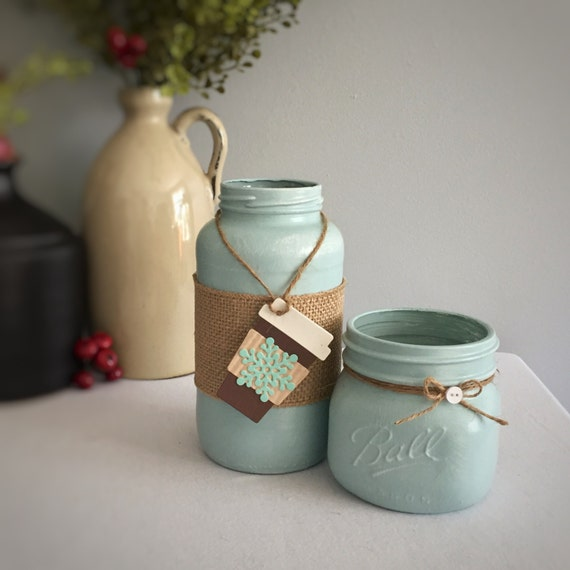 Mason Jar Decor/Coffee To go/Snowflake/Light Teal Jar/Hand Painted/Country Home Decor/Recycled Glass/Brown & Teal Tag/Burlap/Co-Worker Gift
